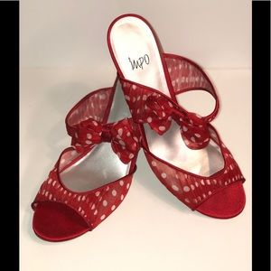 • NEW • Red & White Polka Dot Heels